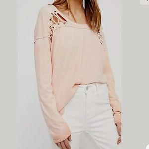 free people first love lace up oversized tee